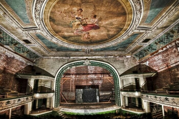 The grand painting on the ceiling and the stage at the Orpheum Theater in Massachusetts in USA