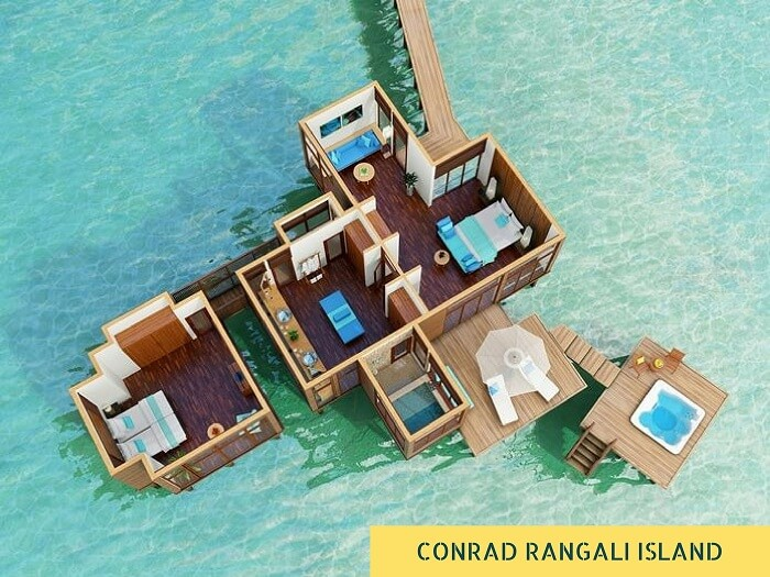 An aerial view of the Conrad resort on Rangali Island in Maldives