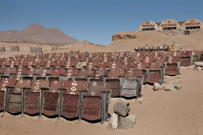 The abandoned movie theater in Sinai desert