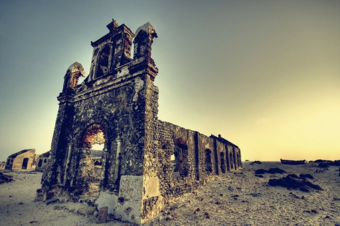 The ruins of Dhanushkodi on Pamban Island in India