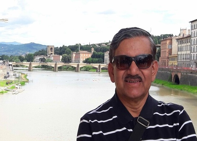 Mr. Abhishek on the banks of the river Arno