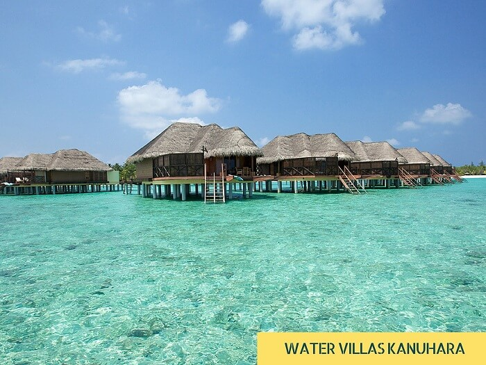 The various water villas at Kanuhara in Maldives