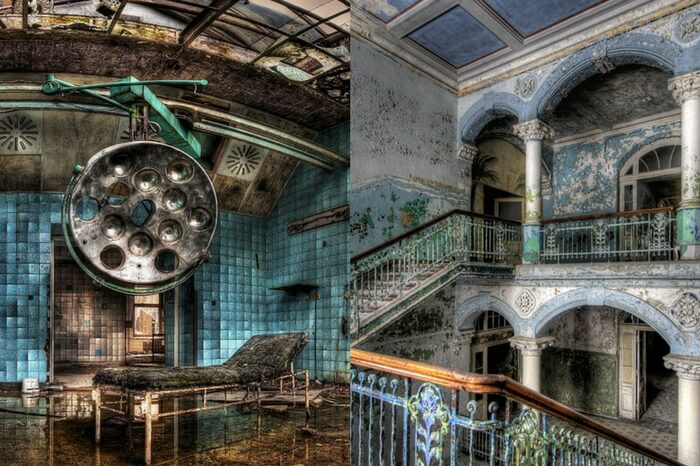 Various shots of the abandoned military hospital in Beelitz in Germany