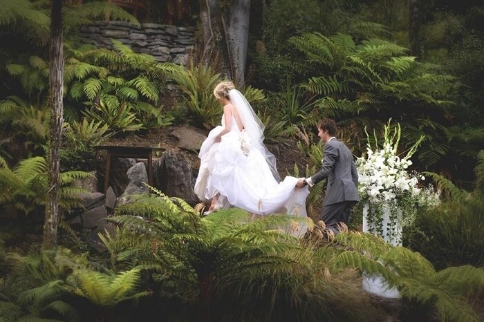 A couple at the Treetops Lodge and Estate in Rotorua for their wedding