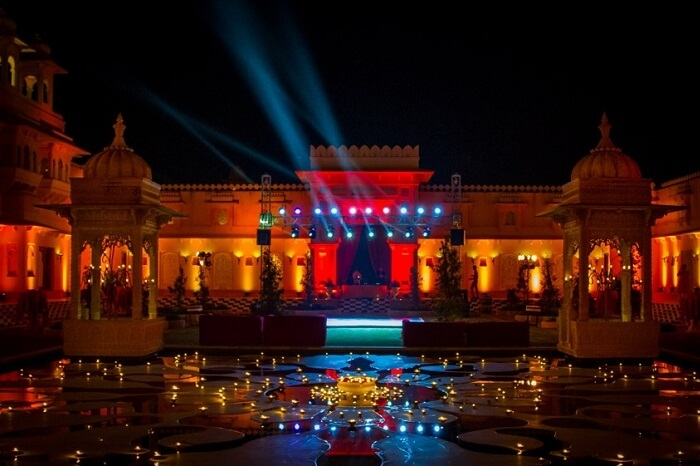 A shot from a destination wedding at Oberoi Udaivilas in Udaipur
