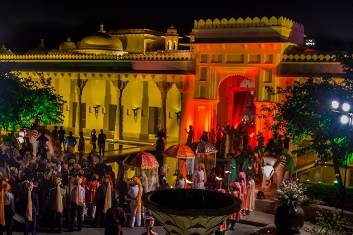A wedding going on at the Oberoi Udaivilas in Udaipur
