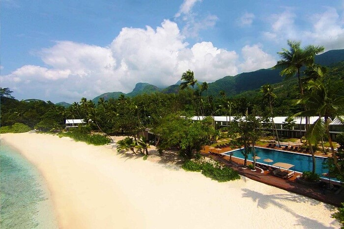 An aerial shot of the beachfront of the Avani Resort in Seychelles