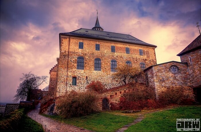An evening shot of the Akershus Castle at Oslo in Norway