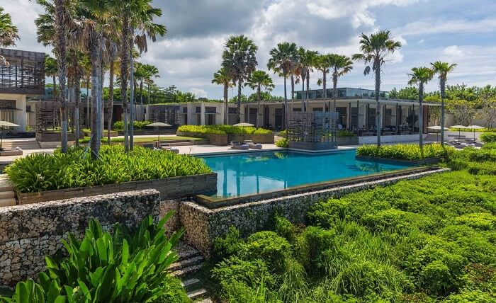 front view of the matchless alila villas, among the best Bali private pool villas