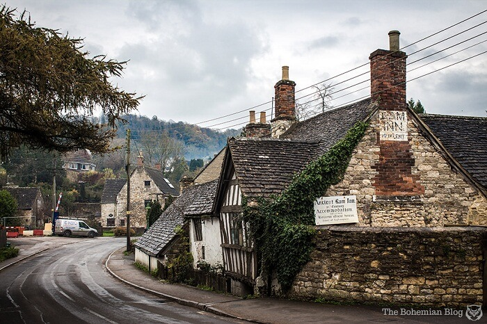 A beautiful shot of the haunted Ancient Ram Inn at Gloucestershire in England