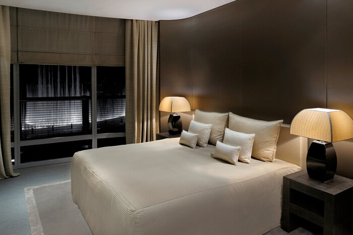 A view of a bedroom at an Armani Fountain Suite in Burj Khalifa