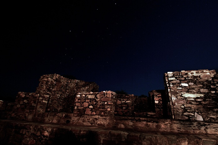 A night view of the Bhangarh Fort in Rajasthan