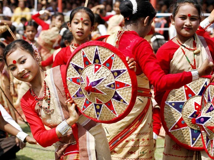 The colorful folk dance Bihu during the Bihu Magh Festival