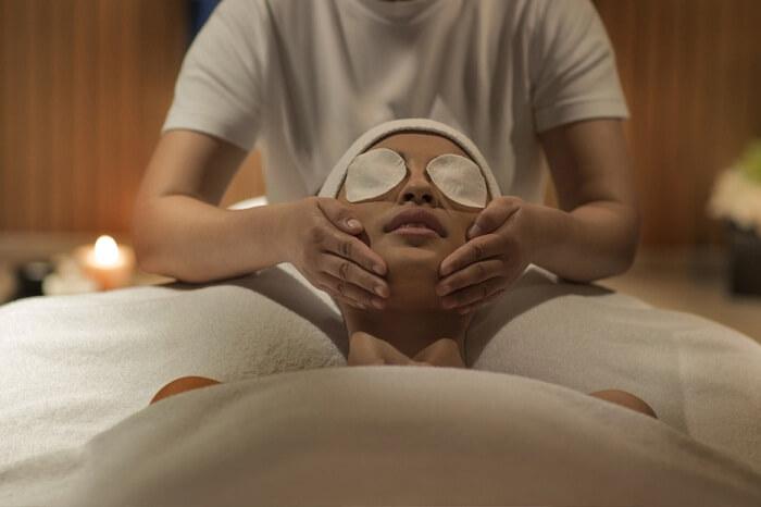 A guest receives a facial treatment at the Burj Khalifa Club Spa