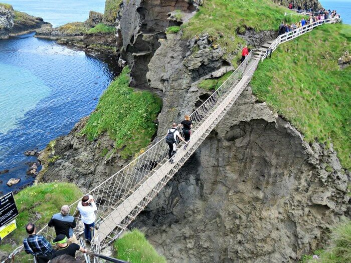The swaying and scary Carrick-a-Rede Bridge in North Ireland