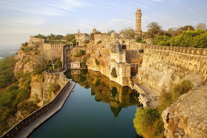 Chittorgarh Fort in the city of Chittorgarh is a historic place to see in Rajasthan