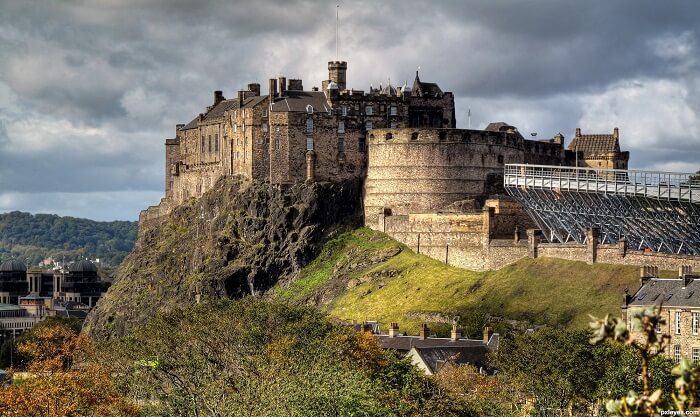 A distant view of the Edinburgh Castle in Scotland