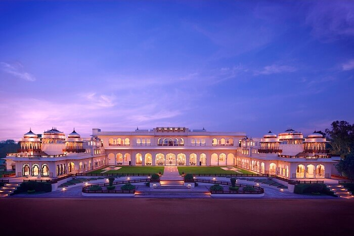 Exteriors of the Rambagh Palace in Jaipur