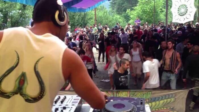Scene from a modern music festival in Kasol