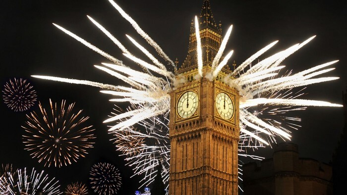 An electric view of the Big Ben during New Year Celebrations in London