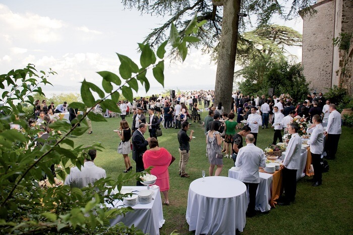 Guests enjoying meal after a wedding ceremony at Odelscalchi Castle near Rome
