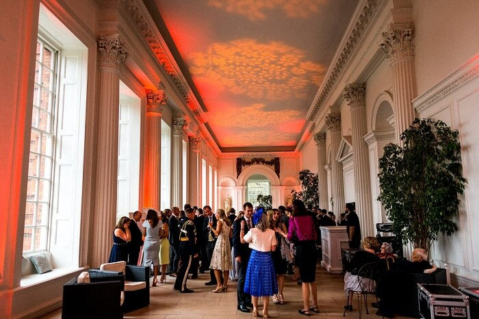 Guests gather at the lobby of the Kensington Palacein London
