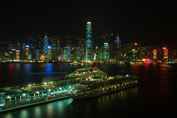 A cruise leaving for the night tour is one of the most popular attractions of Hong Kong nightlife