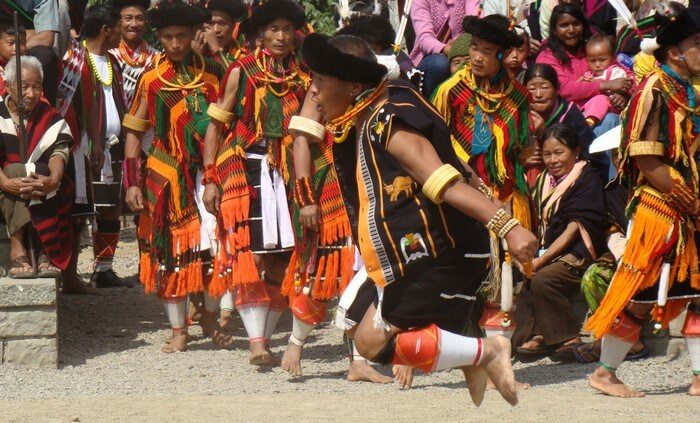 A war dance performer in action during Hornbill Fest in Nagaland