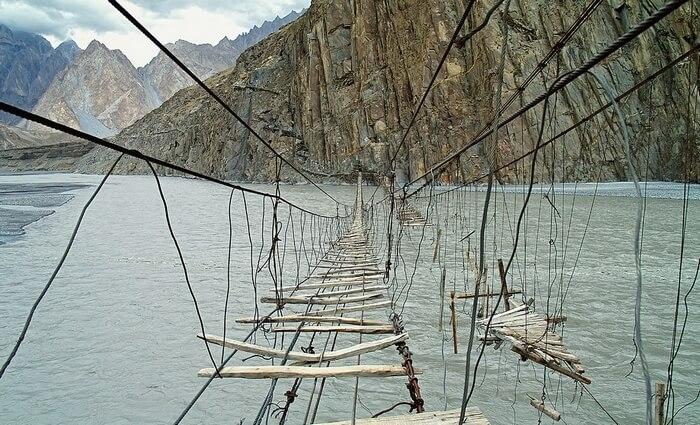 The dilapidated Hussaini Hanging Bridge in Northern Pakistan