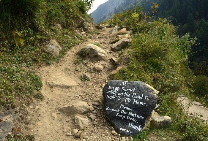 Rock inscription on the way to Kheerganga Trek
