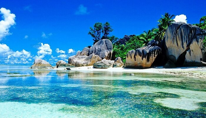 Pure blue water and otherworldly beauty of islands in Seychelles