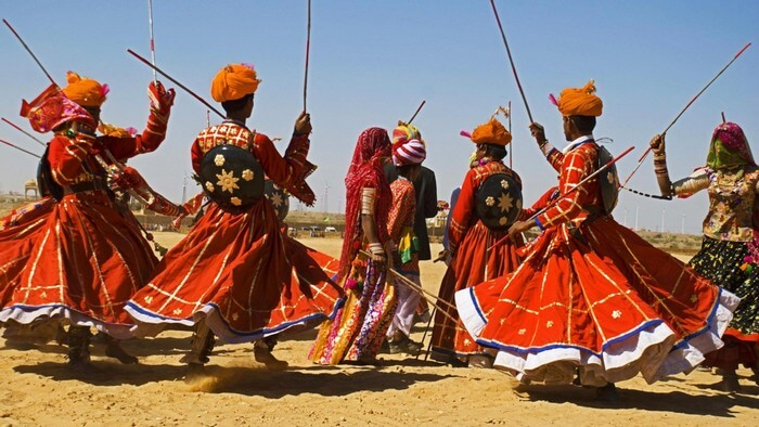 Colorful folk dance during Jaisalmer Desert Fest