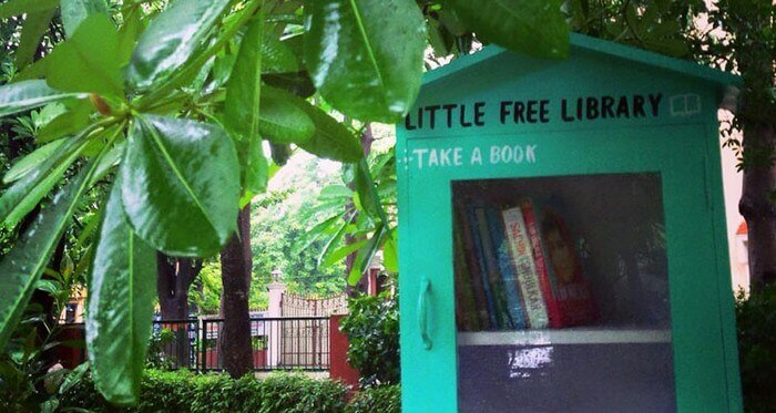 Little free library in Sarita Vihar in Delhi