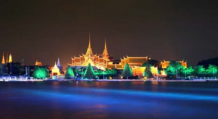 An illuminated Loy Nava River on the eve of new year celebration in Thailand