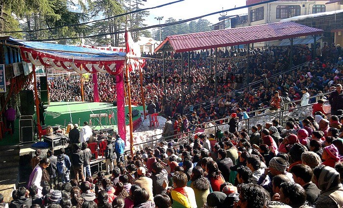 Gathering durng the Manali Winter Carnival in 2015