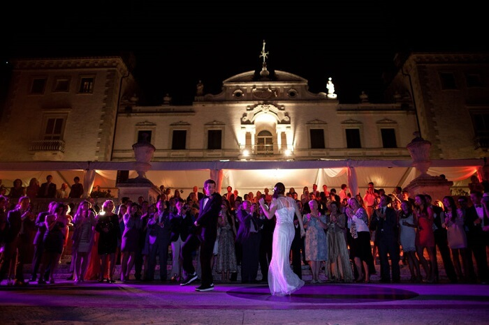 Newly-wed couple dancing at Vizcaya in USA after the wedding