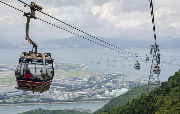 A top view of the fun Ngong Ping 360 cable car ride and the Lantau Island beneath