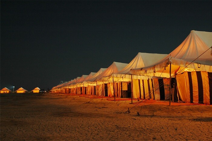 Night shot of Rann Utsav in Kutch Gujarat