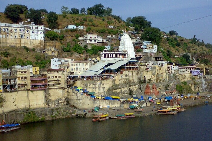 The riverside ghat at Omkareshwar in Madhya Pradesh