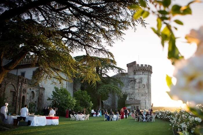 Outdoor wedding reception at Castello Odescalchi for destination weddings near Rome