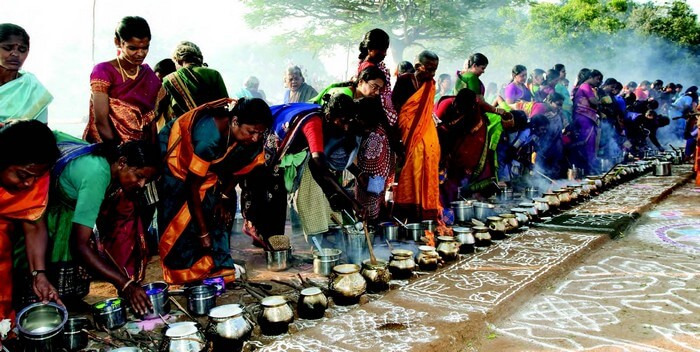 Servings during Pongal in South India