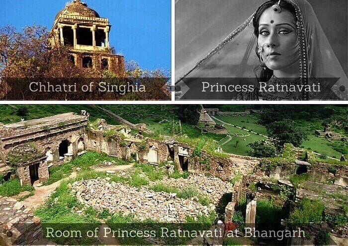 A collage showing the residing places of the princess Ratnavati and the tantrik Singhia