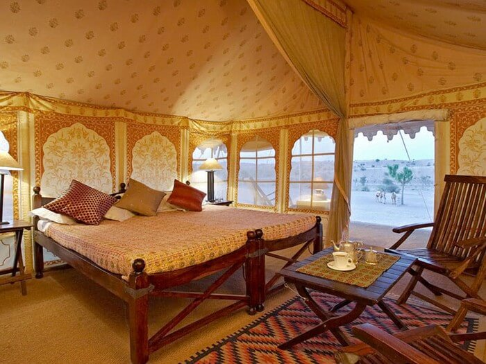 Luxurious interiors of a glamp in Ranthambore