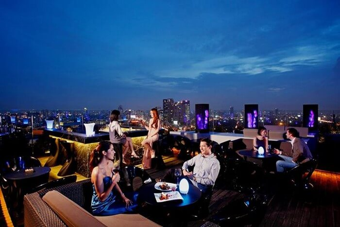 A rooftop restaurant in Thailand during new year celebrations