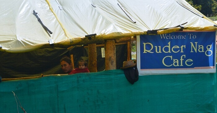 The Rudra Nag Cafe at the waterfall