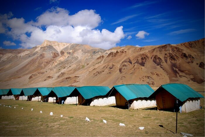 Glamping in Sarchu with the mighty Himalayas at back is one of the most popular camping options in India