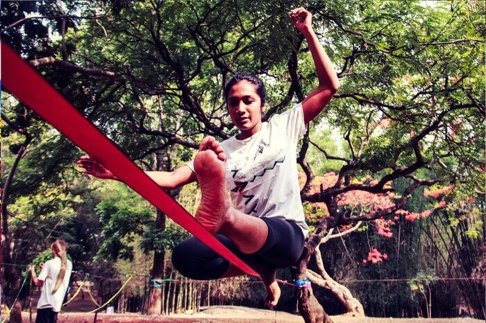 Slacklining in Hauz Khas is free for all
