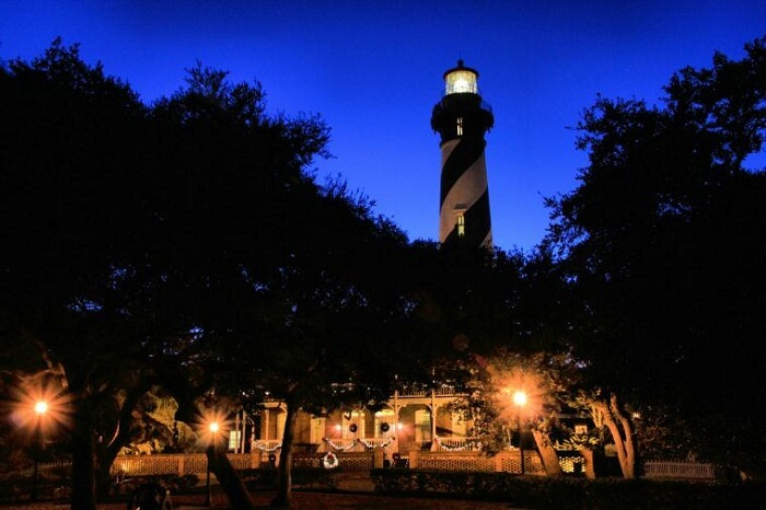 A night shot of the St Augustine Lighthouse at Florida in USA