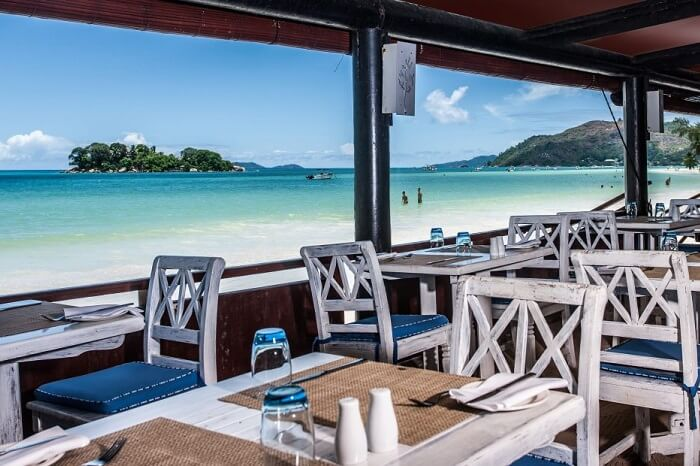 St Pierre Beach dining at Paradise Sun Resort in Seychelles
