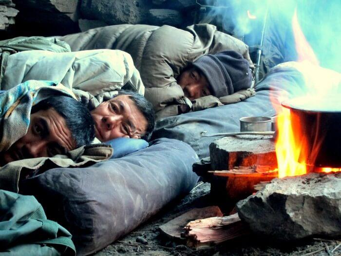 Trekkers enjoying a warm sleep in one of the caves enroute Zanskar